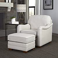 Home Styles 5205-100 Heather Stationary Chair and Ottoman, Off White