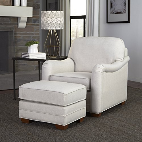 (Home Styles 5205-100 Heather Stationary Chair and Ottoman, Off White)