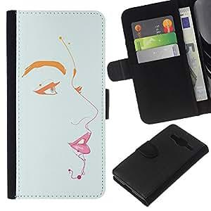 A-type (Lips Eyes Portrait Painting Minimalist) Colorida Impresión Funda Cuero Monedero Caja Bolsa Cubierta Caja Piel Card Slots Para Samsung Galaxy Core Prime