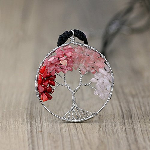 - NewDreamWorld Four Seasons Tree of Life Necklace-Silver Wire Wrapped Tree of Life, Gift for Friends