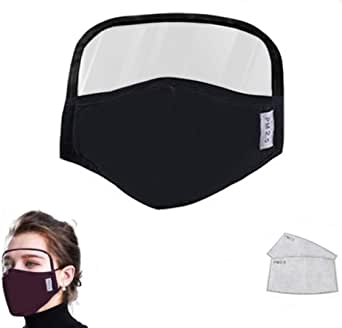 PVC and with Clear Window Gurfitra 3PCS Reusable Face Bandanas,Full Face Protection with Detachable Eyes Shield