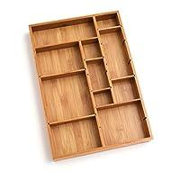 "Lipper International 8397 Organizador de cajones ajustables de madera de bambú con 6 separadores extraíbles, 12 ""x 17-1 /2"" x 1-7 /8 """