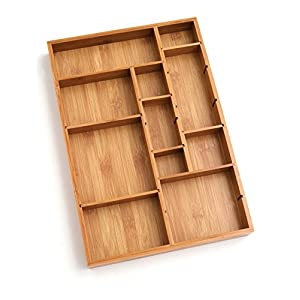 Lipper International 8397 Bamboo Wood Adjustable Drawer Organizer with 6 Removable Dividers, 12″ x 17-1/2″ x 1-7/8″