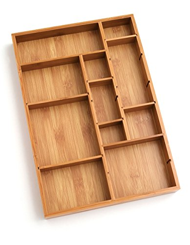"Lipper International 8397 Bamboo Wood Adjustable Drawer Organizer with 6 Removable Dividers, 12-1/2"" x 17-1/2"" x 1-7/8"""
