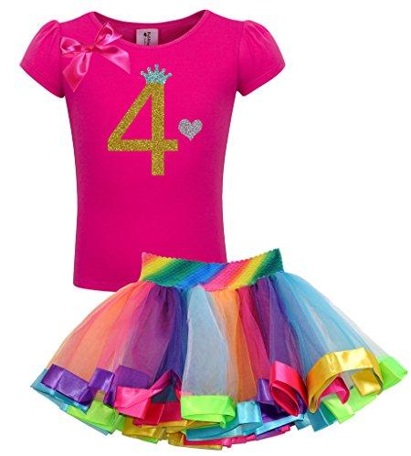 Princess Bubblegum Outfits (Bubblegum Divas Little Girls' 4th Birthday Gold Princess Rainbow Tutu Outfit 4)