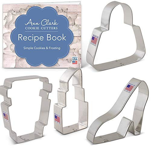 (Grab It To Go Cookie Cutter Set with Recipe Booklet - 4 piece - Purse, Latte Cup, Platform Shoe and Lipstick - Ann Clark - USA Made Steel)