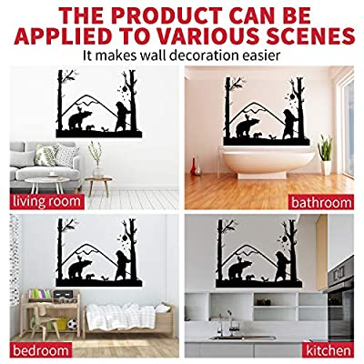 VODOE Bear Wall Decal, Jungle Wall Decal, Lovely Cartoon Forest Wild Animals Squirrel Bee Tree Woodland Stickers Suitable for Family Living Room Vinyl Art Home Decor(Black 21.6X 27.1inches): Home & Kitchen