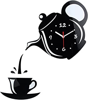 Wall Clock Mirror Effect Coffee Cup Shape Decorative Kitchen Wall Clocks Living Room Home Decor (Black)