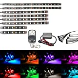 ( Pack of 8) AMBOTHER 8Pcs Motorcycle LED Light Kit Strips Multi-Color Accent Glow Neon Lights Lamp Flexible with Remote Controller for Harley Davidson Honda Kawasaki Suzuki Ducati Polaris KTM BMW