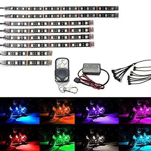 AMBOTHER 8Pcs Motorcycle LED Light Kit Strips Multi-Color Accent Glow Neon Lights Lamp Flexible with Remote Controller for Harley Davidson Honda Kawasaki Suzuki Ducati Polaris KTM BMW ( Pack of - Motorcycles Accessories