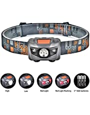 Linkax USB Wiederaufladbare LED Stirnlampe Kopflampe Mini stirnlampen Wasserdicht Leichtgewichts LED Headlight für Laufen Joggen Camping Wandern Kinder