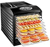 New House Kitchen 9-Tray Dehydrator Machine, Electric Food Preserver for Meat/Beef Jerky, Dried Fruit/Veggie Maker, Dishwasher Safe Slide Out Trays, Transparent Door, Black