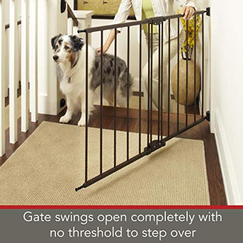 North States 47.85 Easy Swing Lock Baby Gate Ideal for Standard or Wider stairways, Swings to self-Lock. Hardware Mount mounts Included . Fits 28.68 -47.85 Wide 31 Tall, Bronze