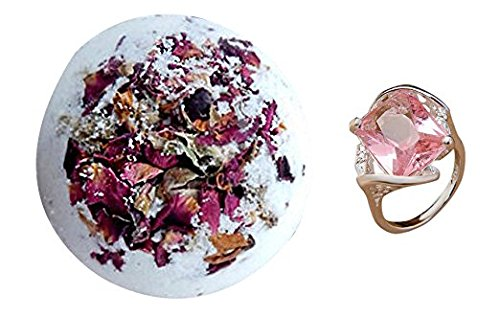 Rose Petals Bath Bomb with Surprise Ring Inside – Ultra Lush Jumbo XL Fragrance Jewels Set – 9 Ounce Large Fizzy Real Roses Organic Natural Handmade i…