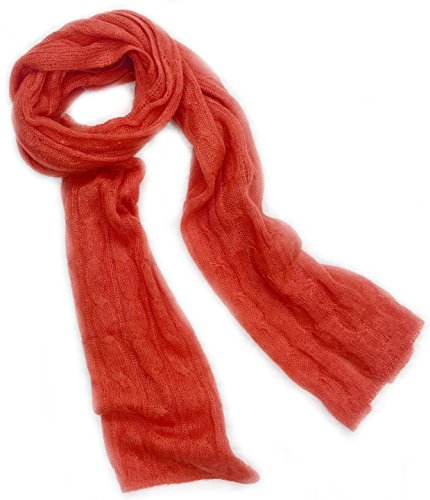 Ladies Mohair Knit Scarf (Meesty Luxurious Wool Mohair Winter Scarf For Women (Orange Red))