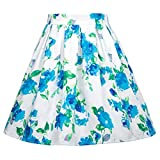 #4: GRACE KARIN Girls Elastic Waist Pleated Floral Cotton A-Line Skirts Dresses
