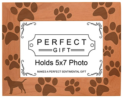 Dog Lover Gift Labrador Retriever Paw Prints Natural Wood Engraved 5x7 Landscape Picture Frame Wood (Labrador Retriever Dogs Pictures)