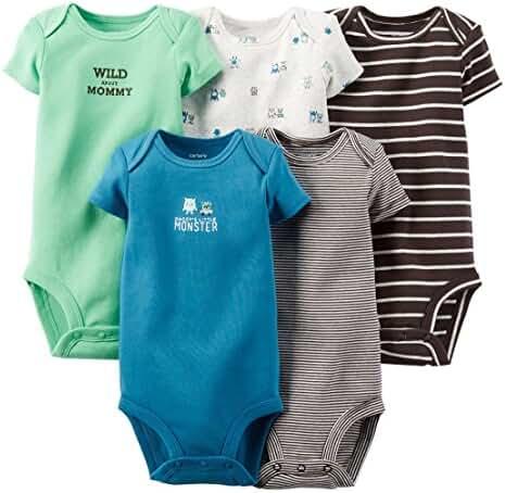 Carter's Baby Boys' 5 Pack Bodysuits (Baby) (12 Months, Dark Assorted)