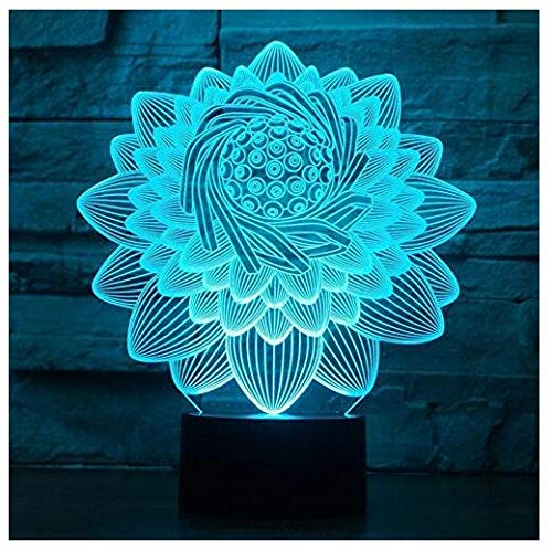 3D New Lotus Flower lamp Night Light Touch Table Desk Optical Illusion Lamps 7 Color Changing Lights Home Decoration Xmas Birthday Gift ()