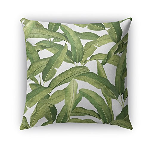 KAVKA Designs Banana Leaves Indoor-Outdoor Pillow, (Green) - CABANA Collection, Size: 18X18X6 - (MGTAVC2040OP18)