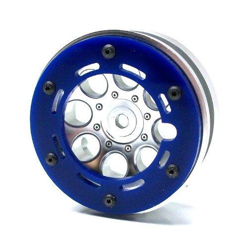 Beadlock Axial Rings (Gear Head RC Axial 1.9 Wheel Beadlock Rings, Style No. 1, Blue Acrylic (4))