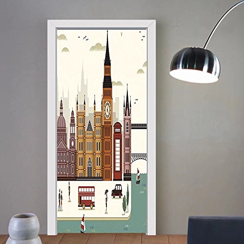 Gzhihine custom made 3d door stickers London Attractive Travel Scenery Famous City England Big Ben Telephone Booth Westminster Multicolor For Room Decor 30x79 by Gzhihine