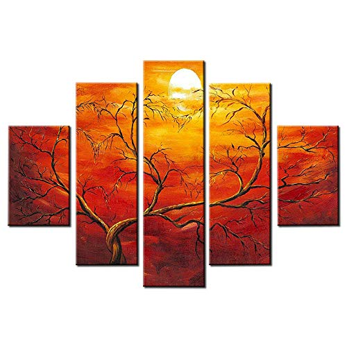 Hand Painted Artwork Set - OKBONN-Large Tree Wall Art Oil Paintings Abstract Canvas Wall Art 5 Panels Orange Sunset Framed Artwork for Home Decor