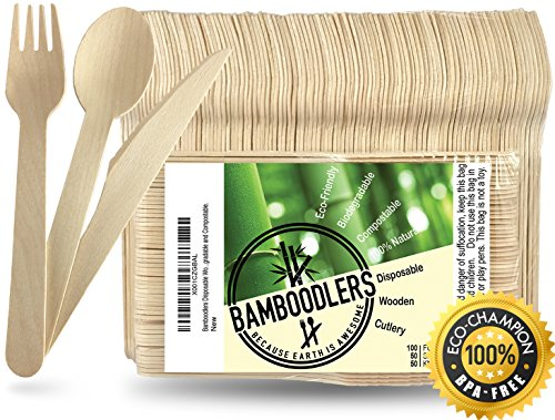 Disposable Bamboo Cutlery Set, 100 forks, 50 spoons, 50 knives