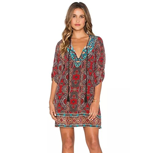 WILLTOO Feitong Women Bohemian Vintage Printed Ethnic Style Summer Shift Dress (US Size:8) Red from WILLTOO