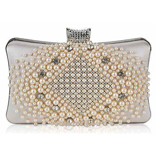 TrendStar Mujeres Perla perlado falso diamante embrague bolsa Bal de Promo de los partes boda de bolso Champagne 1