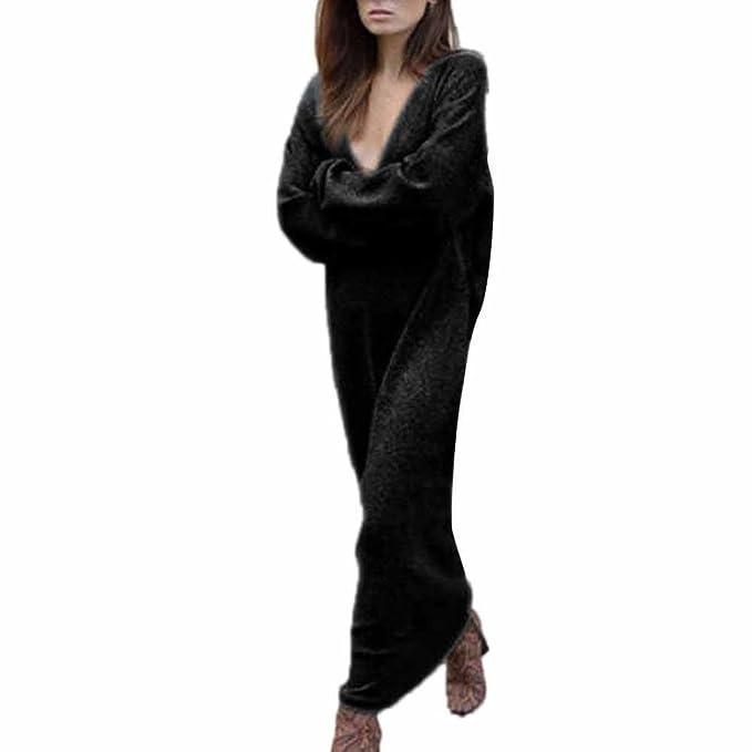 ed9ae12800dbf6 Longra Damen Strickkleid Pullover Kleid Herbst Winter Strick Pullover  Sweater Damen Langarm Gestrickte Strickjacken Pullover Jumper langes Kleid:  Amazon.de: ...