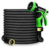 GardenJoy Expandable Garden Hose, 100ft Water Hose with All Improved Leakproof 3/4 Solid Brass Connector, 3300D Stretch Fabric With 9 Function High Pressure Spray Nozzle Flexible Expanding Hose, Black