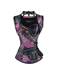 ZAMME Women's Steampunk Brocade Bustiers and Corsets with Pouch Belt