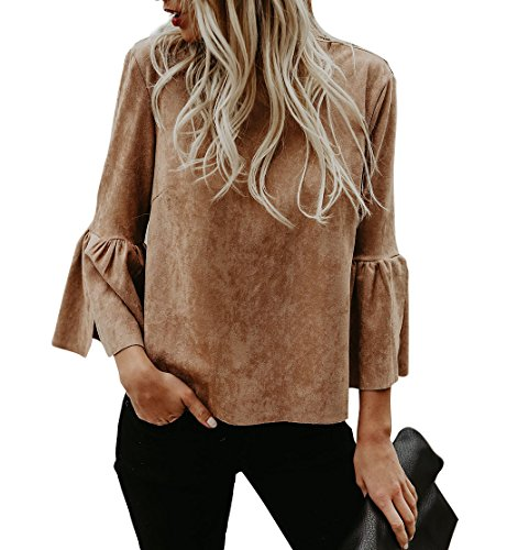 Brown Shirt Grey Pants - Kathemoi Womens Bell Sleeve Suede Top Crew Neck Casual T Shirt Blouse Tops