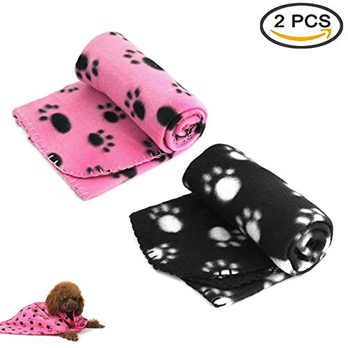 Pet Dog Cat Puppy Kitten Soft Blanket Doggy Warm Bed Mat Paw Print Cushion (Pink & Black)