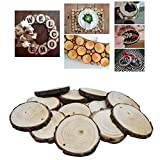 Nature Wood Slices Unfinished By VASWOOD 20 Pieces 2.2 – 2.95 Inch With Natural Jute Twine 9.84Feet For DIY Crafts Wedding Centerpieces and Home Hanging Decorations.