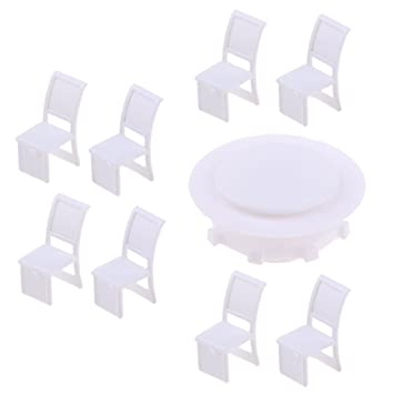 Fityle 9pcs Miniature Model Round Table Chair Set Diy