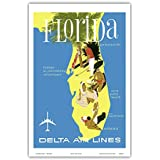 Florida - Golf - Scuba Diving - Sunbathing - Delta Air Lines - Vintage Airline Travel Poster Unknown - Master Art Print - 12in x 18in
