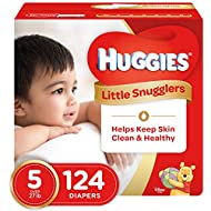 Huggies Little Snugglers Baby Diapers, Size 5 (fits 27+ lbs.), 124 Count, Economy Plus Pack (Packaging May Vary)