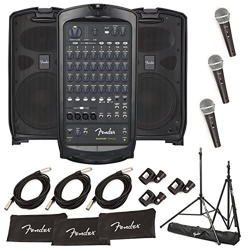 Fender Passport Portable Audio PA System with Pair of Stands & 3 Microphones (VENUE)