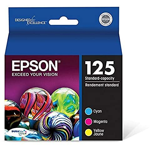Epson (125) Stylus Nx125/127/130/230/420/530/625/Workforce 320/323/325/520 Durabrite Ultra Color Ink Combo Pack (Includes 1 Each Of Oem# T125220 T125320 T125420) (3 X 335 (Epson Wf 520 Black)
