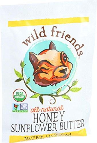 Wild Friends Organic Sunflower Butter - Sweetened with Organic Honey - 1.15 oz - Case of 10 - 95%+ Organic - Gluten Free - Dairy Free - Vegan