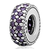 Purple Birthstone Amethyst Crystal Charm 925 Sterling Silver Bead Fits European Brand Charms