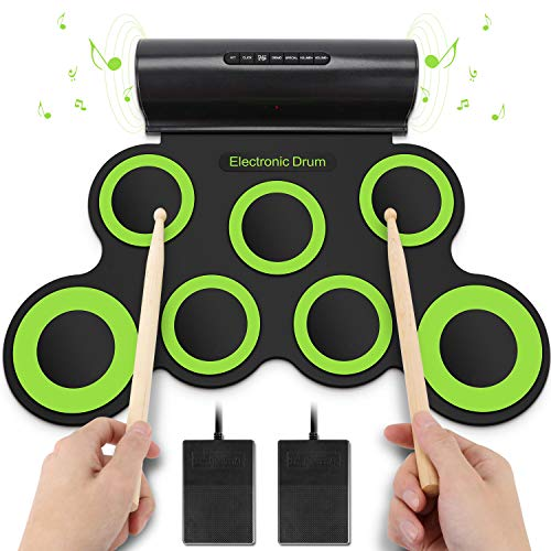 YISSVIC Electronic Drum Set Roll Up Drum Kit Pad Foldable Portable Kids Practice Drum Pad with Headphone Jack Built-in Speaker Foot Pedals Drum Sticks for Kids or Beginner