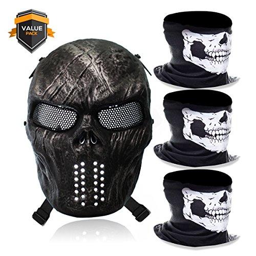 Stargoods Skeleton AirSoft Mask - Metal Mesh Paintball, BB Gun & CS Games - Black + 3 Skull Face (Halloween Bandana Face Paint)