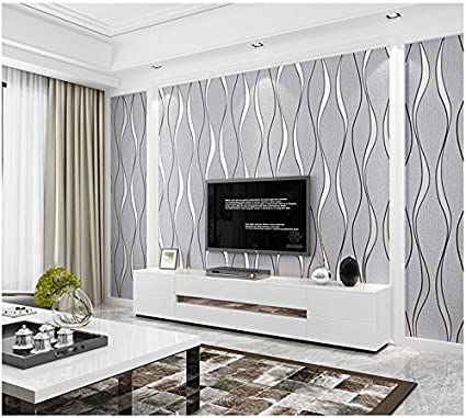 Yosot Modern 3d Relief Curves Stripes Wallpaper Tv Background Living Room Non Woven Wallpaper White