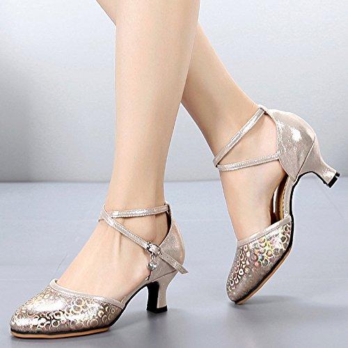 Sqiao-x- Zapatos De Baile De Cuero Sintético Y Suela De Goma Baja Y Gruesa Cabeza Redonda Con Baile Cuadrado Danza Social Danza Moderna Zapatos De Baile Profesional, Plata, 35