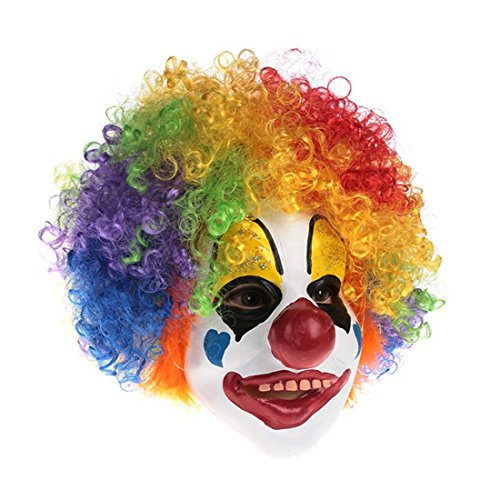 Clown Mask With Colorful Hair Scary Clown Mask For Kids Halloween (Pennywise Clown Mask Costume)