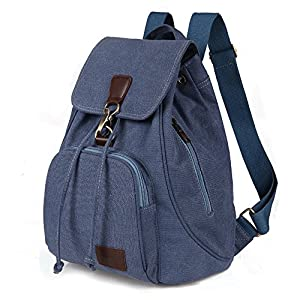 School Backpack Moraner Vintage Blue Universe Canvas Casual Daypack Travel Rucksack Blue