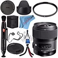 Sigma 35mm f/1.4 DG HSM Art Lens for Canon DSLR Cameras #340101 + 67mm UV Filter + Lens Pen Cleaner + Fibercloth + Lens Capkeeper + Deluxe Cleaning Kit + Flexible Tripod Bundle